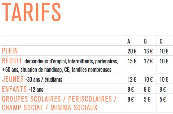 Grille de tarifs automne 2016 des spectacles du Théâtre Paris Villette