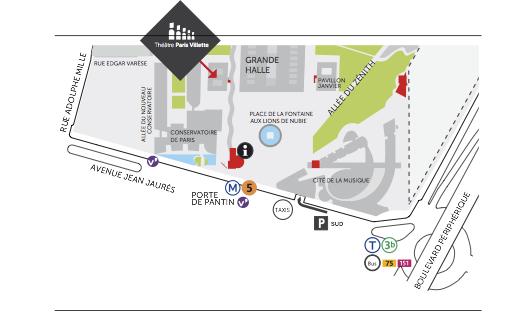 Plan d'accès du Théâtre Paris Villette